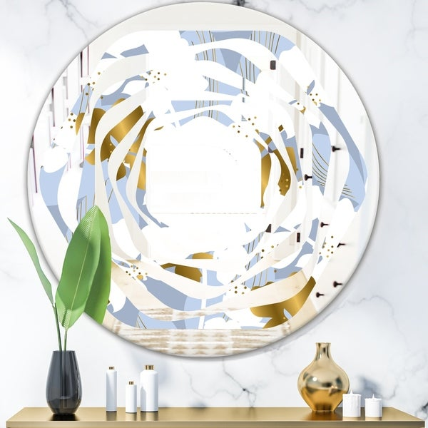 Designart 'Orchid blossom color pattern' Modern Round or Oval Wall Mirror - Whirl