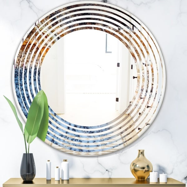 Designart 'Close Up' Modern Round or Oval Wall Mirror - Wave