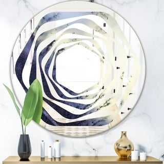 Designart 'Moss Agate bush' Modern Round or Oval Wall Mirror - Whirl