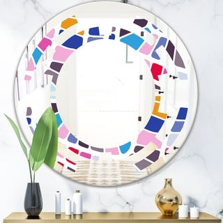 Designart 'Abstract Retro Geometric Pattern I' Modern Round or Oval Wall Mirror - Space - Multi