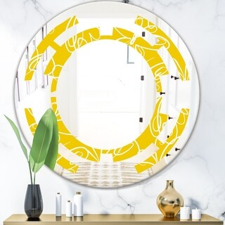 Designart 'Butterflies hand drawn color pattern' Modern Round or Oval Wall Mirror - Space