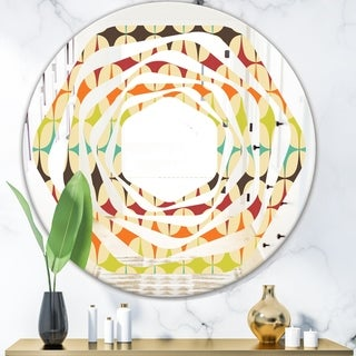 Designart 'Abstract Retro Geometric Pattern V' Modern Round or Oval Wall Mirror - Whirl - Multi