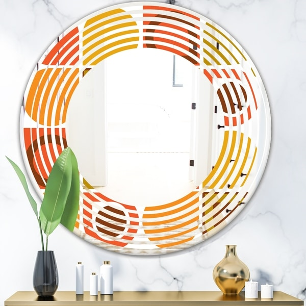Designart 'Abstract Retro Geometric Pattern VI' Modern Round or Oval Wall Mirror - Wave