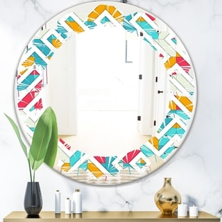 Designart 'Abstract Retro Geometry I' Modern Round or Oval Wall Mirror - Leaves