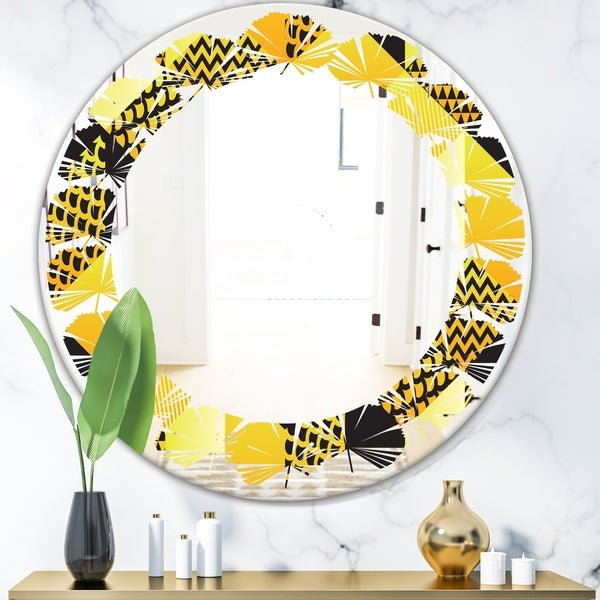 Designart 'Retro Hexagon Pattern II' Modern Round or Oval Wall Mirror - Leaves