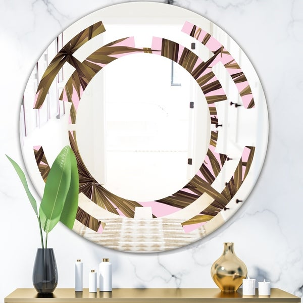 Designart 'Tropical Leaves On Pink' Modern Round or Oval Wall Mirror - Space