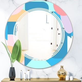 Designart 'Retro Geometrical Abstract Pattern II' Modern Round or Oval Wall Mirror - Triple C