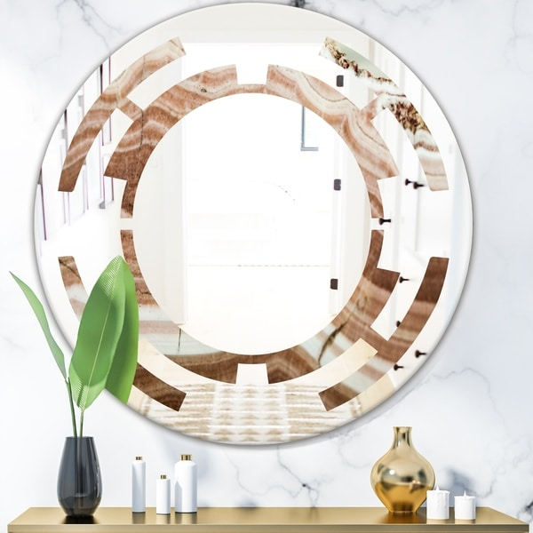 Designart 'Crystals minerals and stones' Modern Round or Oval Wall Mirror - Space