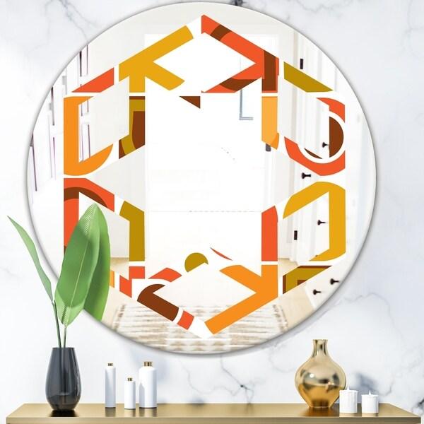 Designart 'Abstract Retro Geometric Pattern VI' Modern Round or Oval Wall Mirror - Hexagon Star