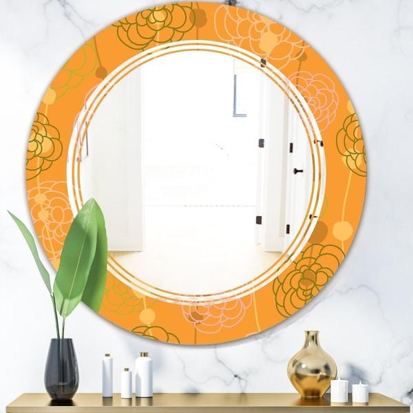 Designart 'Retro handdrawn flowers III' Modern Round or Oval Wall Mirror - Triple C