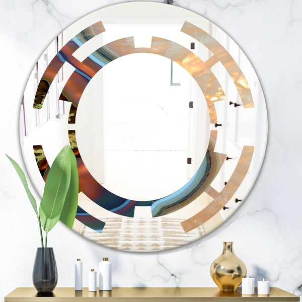 Designart 'Abstract Mineral Texture' Modern Round or Oval Wall Mirror - Space