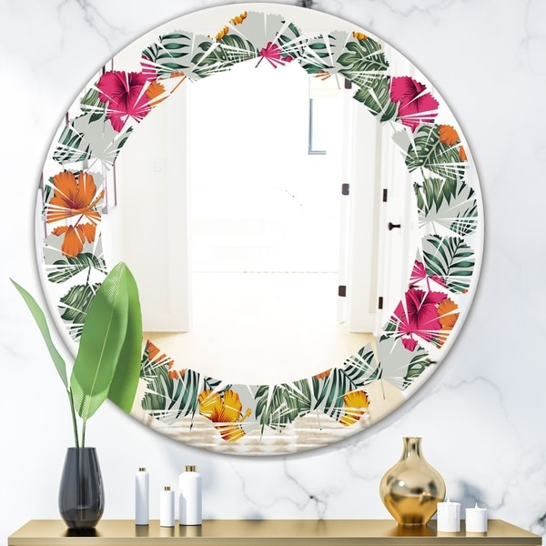 Designart 'Retro tropical Leaves III' Cottage Round or Oval Wall Mirror - Leaves