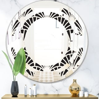 Designart 'Retro Art Deco Waves I' Modern Round or Oval Wall Mirror - Space
