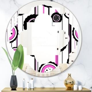 Designart 'Circular Retro Pattern I' Modern Round or Oval Wall Mirror - Quatrefoil