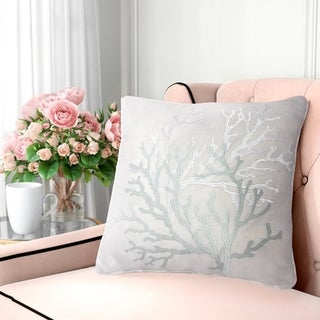 Harper Lane Embroidered Blue Coral Throw Pillow