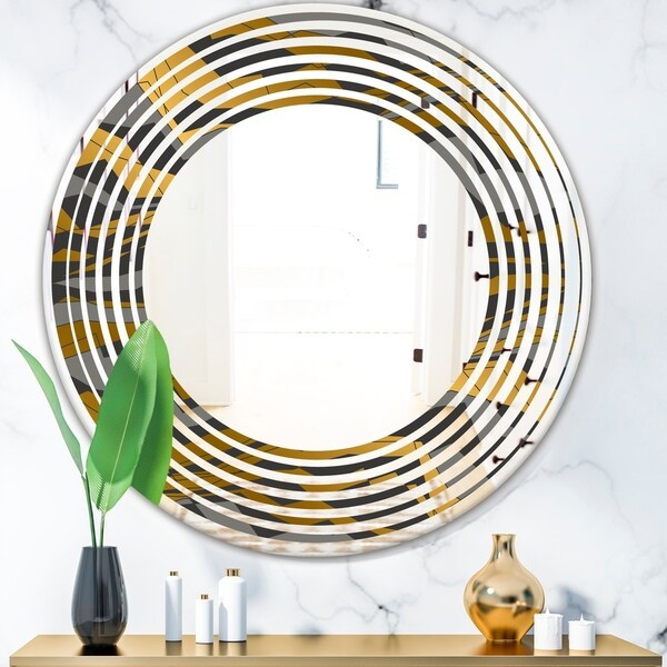 Designart 'Angled lines and waves pattern' Modern Round or Oval Wall Mirror - Wave