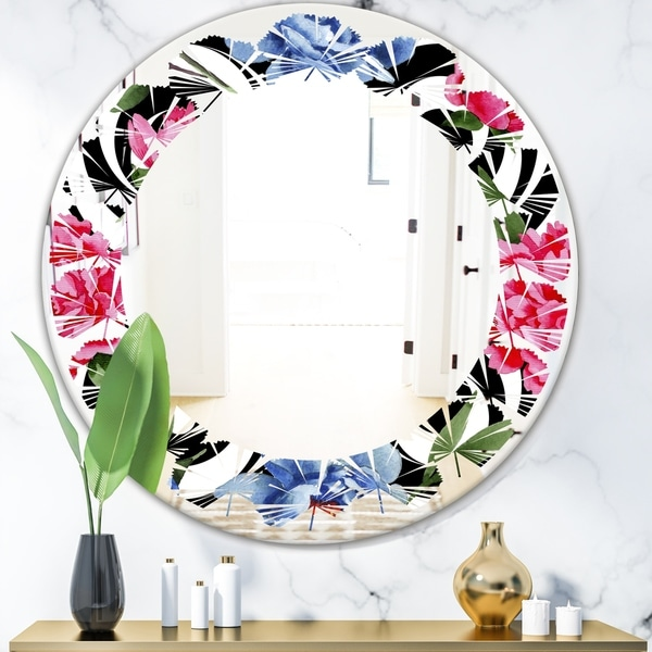 Designart 'Floral Retro Pattern I' Modern Round or Oval Wall Mirror - Leaves