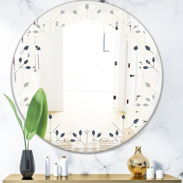 Designart 'Floral Retro Botanical Pattern I' Cottage Round or Oval Wall Mirror - Leaves