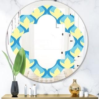 Designart 'Retro Pattern Abstract Design IX' Modern Round or Oval Wall Mirror - Quatrefoil