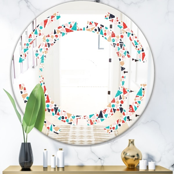 Designart 'Retro Abstract Pattern Design II' Modern Round or Oval Wall Mirror - Space
