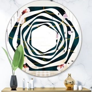 Designart 'Retro Pink Flower Pattern II' Cottage Round or Oval Wall Mirror - Whirl