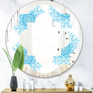Designart 'Circular Geometric In Blue' Modern Round or Oval Wall Mirror - Quatrefoil