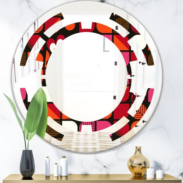 Designart 'Geometric Retro Flower Design I' Modern Round or Oval Wall Mirror - Space