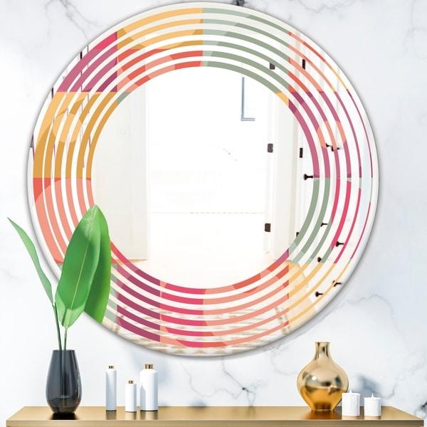 Designart 'Geometric Retro Minimal I' Modern Round or Oval Wall Mirror - Wave