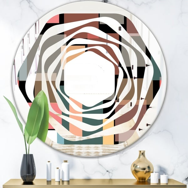 Designart 'Retro Square Design II' Modern Round or Oval Wall Mirror - Whirl