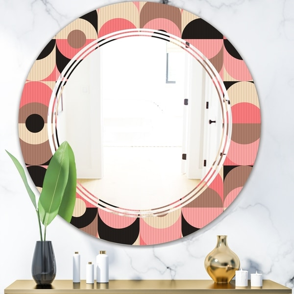 Designart 'Retro Geometric Design XI' Modern Round or Oval Wall Mirror - Triple C