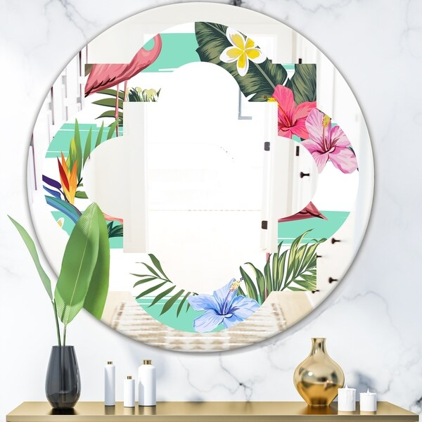 Designart 'Tropical Botanicals, Flowers and Flamingo' Modern Round or Oval Wall Mirror - Quatrefoil