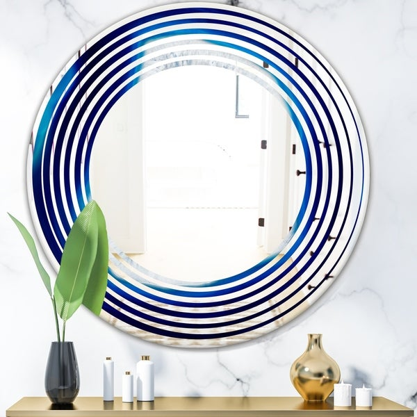 Designart 'Slice of blue agate crystal' Modern Round or Oval Wall Mirror - Wave