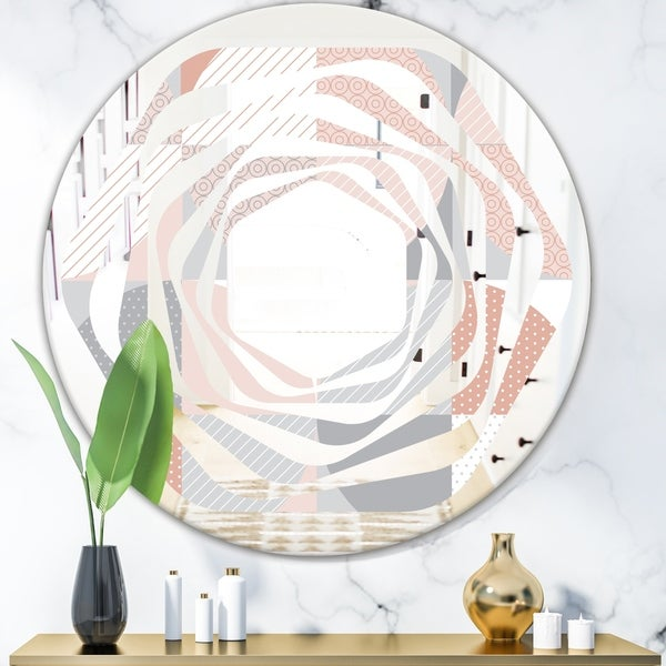Designart 'Round geometric textured pattern' Modern Round or Oval Wall Mirror - Whirl - Multi