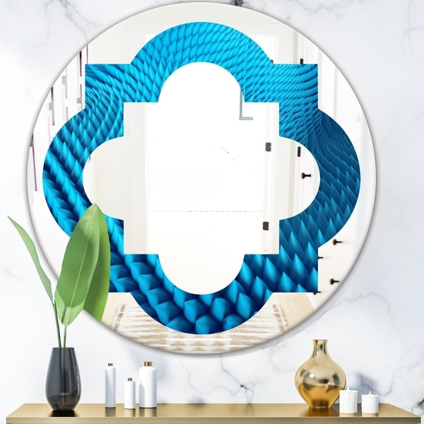 Designart 'Abstract Blue Wavy II' Modern Round or Oval Wall Mirror - Quatrefoil