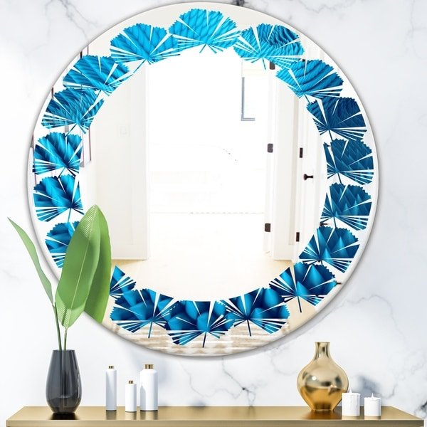 Designart 'Abstract Blue Wavy II' Modern Round or Oval Wall Mirror - Leaves