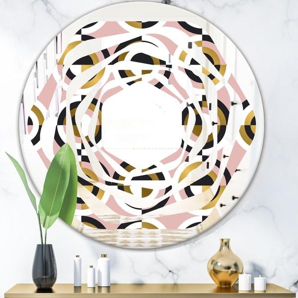 Designart 'Abstract Geometric Circular Retro I' Modern Round or Oval Wall Mirror - Whirl