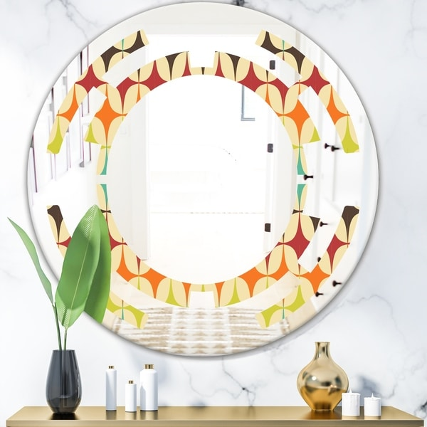 Designart 'Abstract Retro Geometric Pattern V' Modern Round or Oval Wall Mirror - Space - Multi