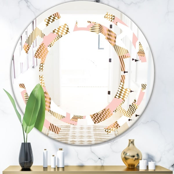 Designart 'Gold and Rose Cubes I' Modern Round or Oval Wall Mirror - Space