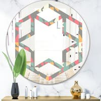 Designart 'Retro Abstract Design V' Modern Round or Oval Wall Mirror - Hexagon Star