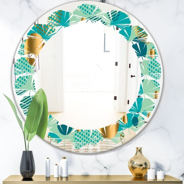 Designart 'Gold and Blue Dynamics III' Modern Round or Oval Wall Mirror - Leaves