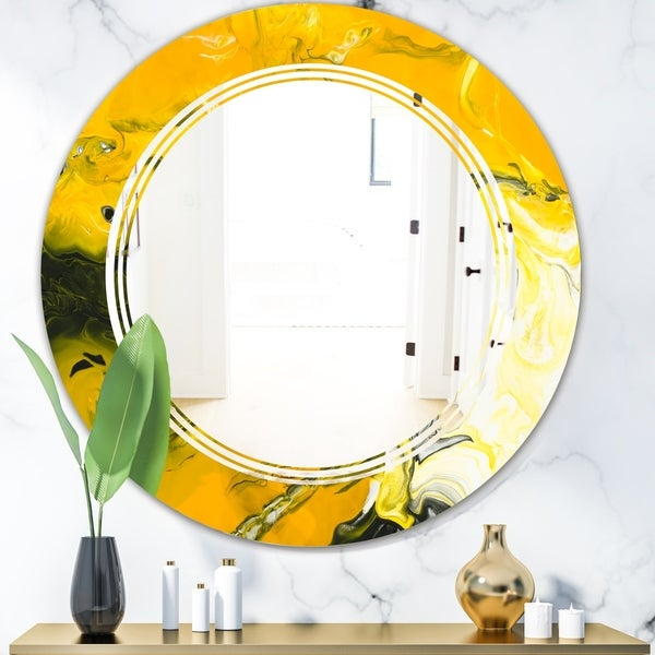Designart 'Marbled Yellow 2' Modern Round or Oval Wall Mirror - Triple C