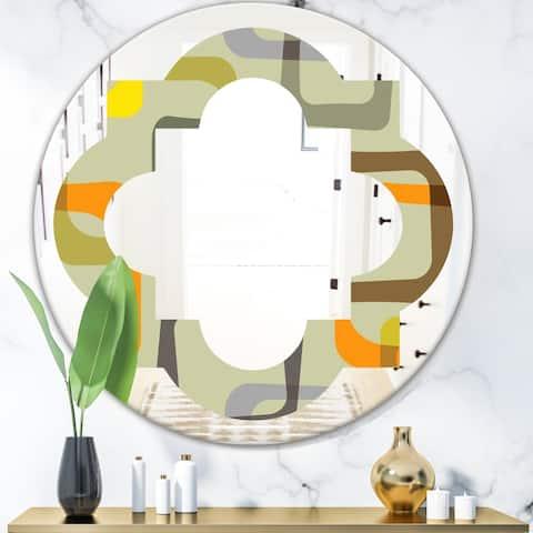 Designart 'Retro Square Design VII' Modern Round or Oval Wall Mirror - Quatrefoil