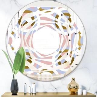 Designart 'Circular geometric shapes pattern' Modern Round or Oval Wall Mirror - Whirl