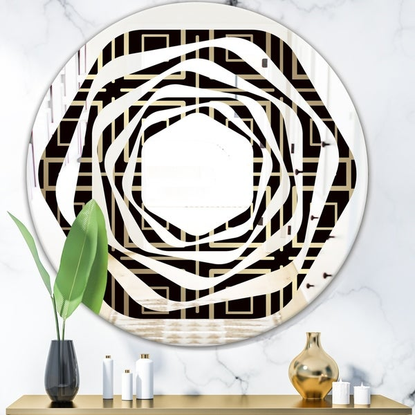 Designart 'Golden Luxury Metallic Geometrics XII' Modern Round or Oval Wall Mirror - Whirl