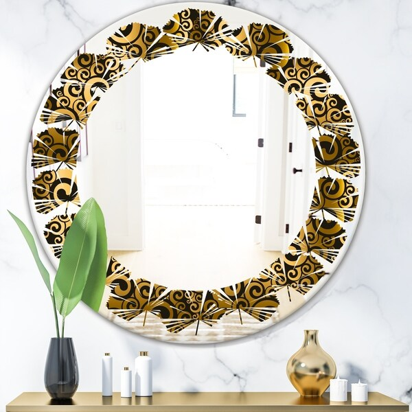 Designart 'Gold and Black Swirl I' Modern Round or Oval Wall Mirror - Leaves