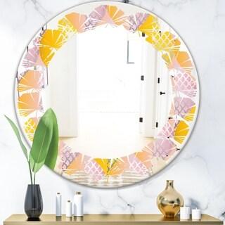 Designart 'Golden Geometrical Diamond Pattern IV' Modern Round or Oval Wall Mirror - Leaves