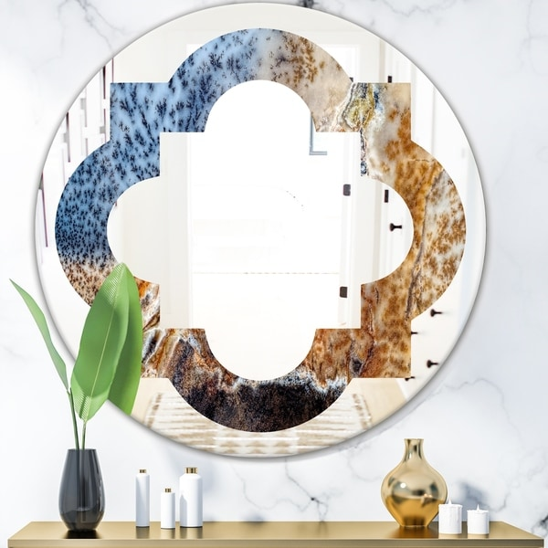 Designart 'China Moss Agate' Modern Round or Oval Wall Mirror - Quatrefoil