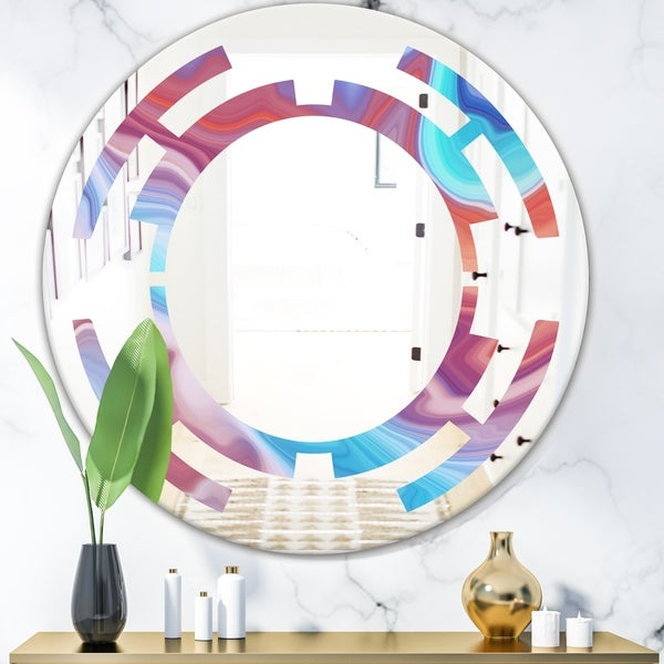 Designart 'Abstract Marbled Background' Modern Round or Oval Wall Mirror - Space - Multi