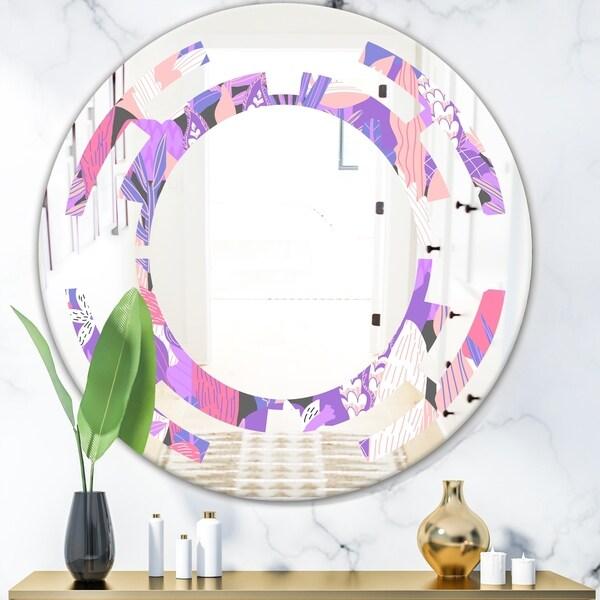 Designart 'Fantasy Flowers In Purple' Modern Round or Oval Wall Mirror - Space