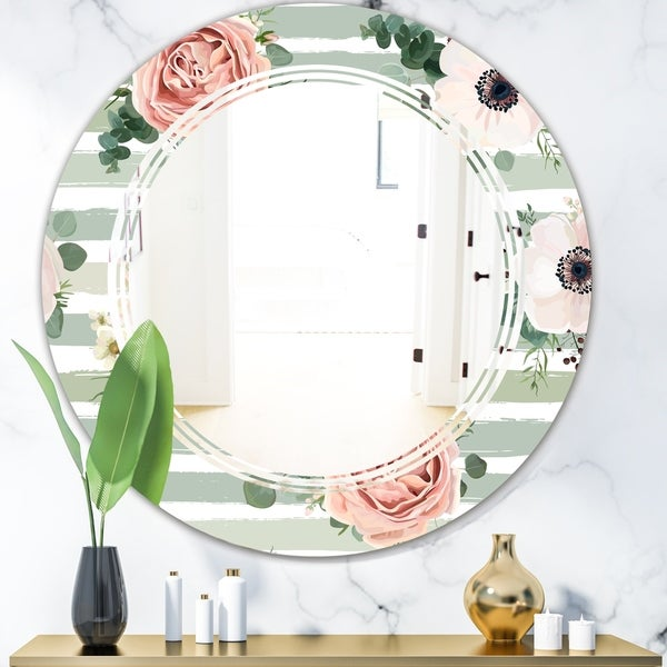 Designart 'Floral Retro Pattern V' Cottage Round or Oval Wall Mirror - Triple C
